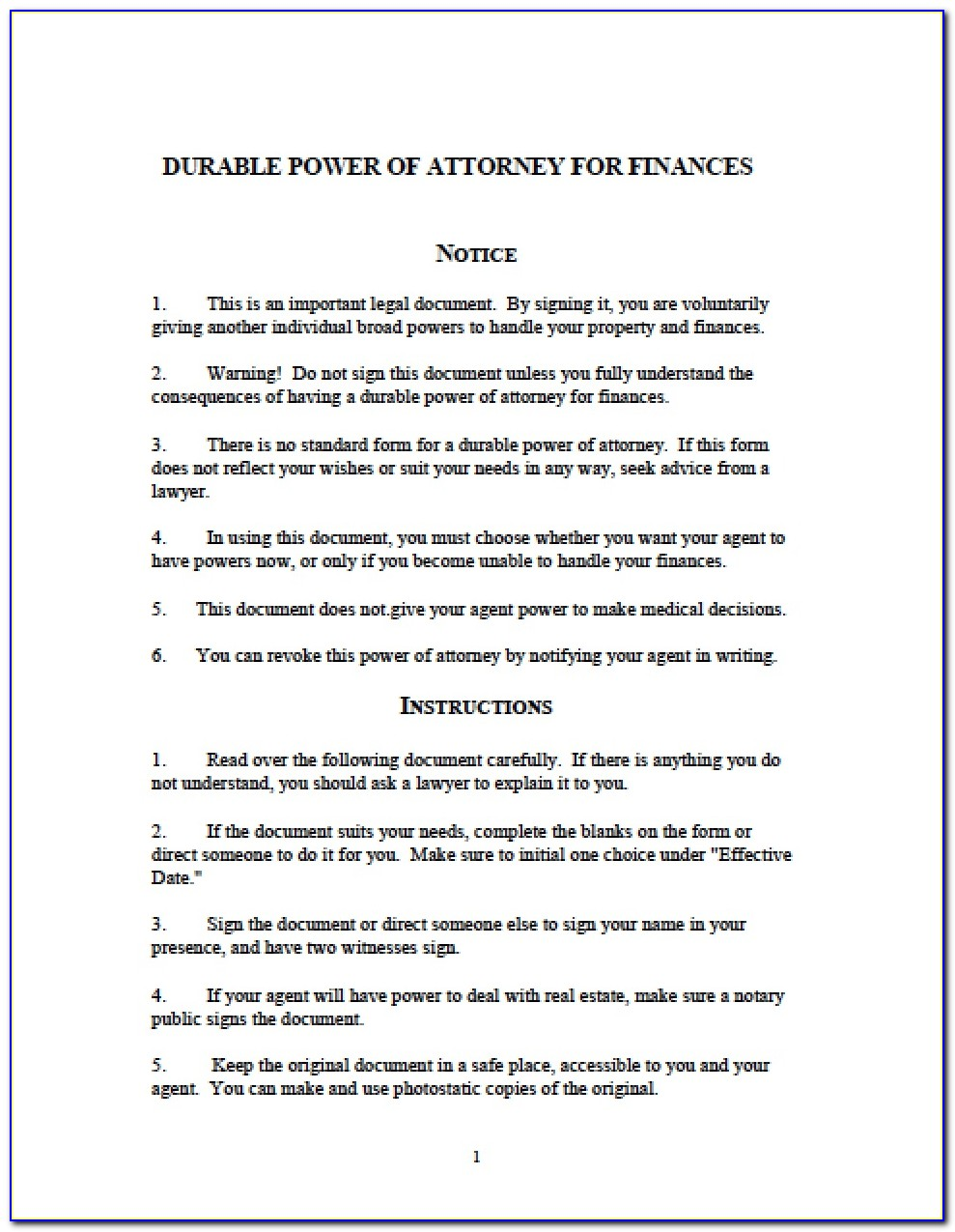 Free General Durable Power Of Attorney Form Michigan