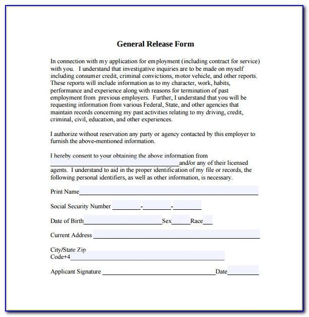 Free General Waiver And Release Form