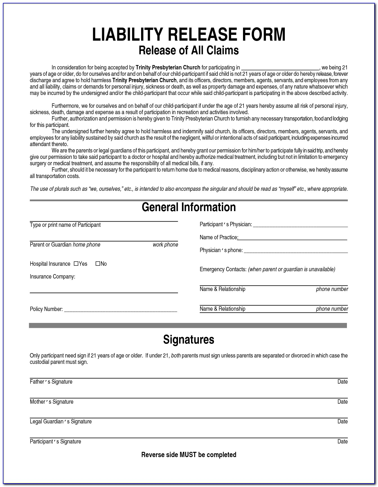 Free General Waiver Form