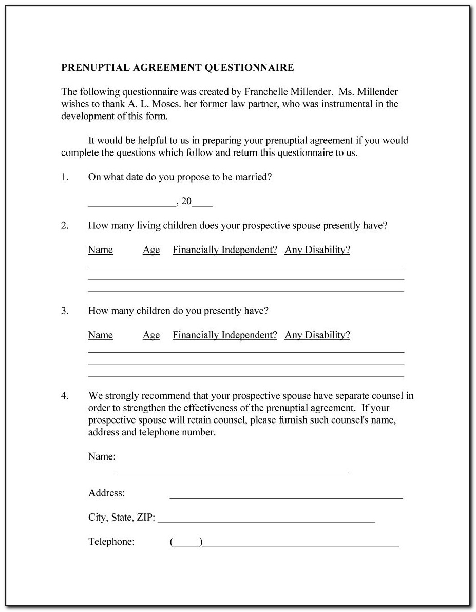 Free Georgia Prenuptial Agreement Form