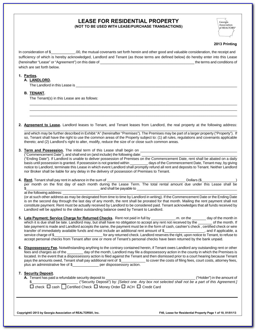 Free Georgia Rental Lease Agreement Form