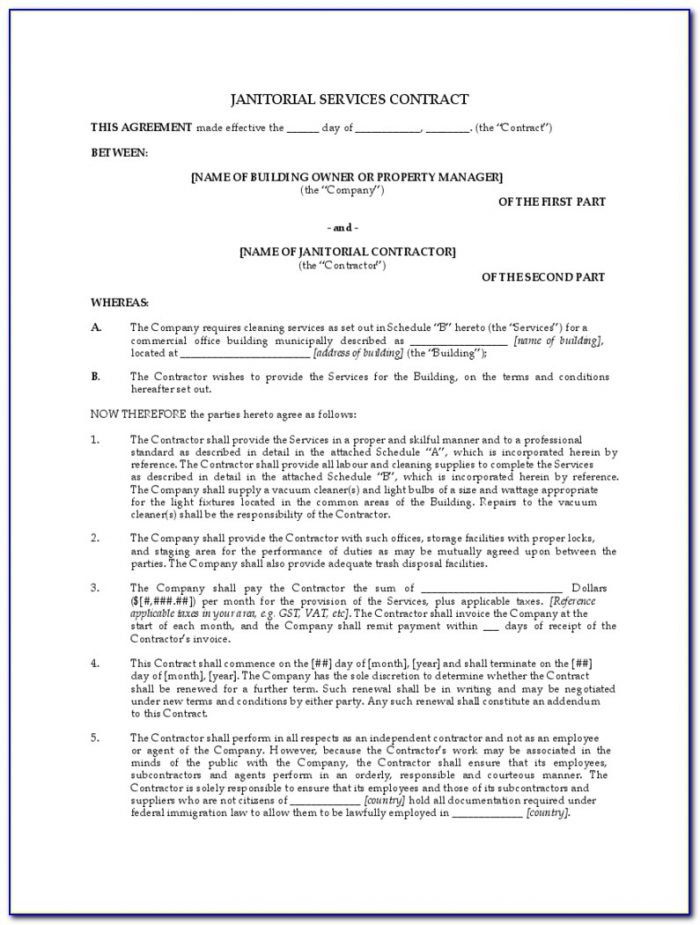 Free Janitorial Contract Forms