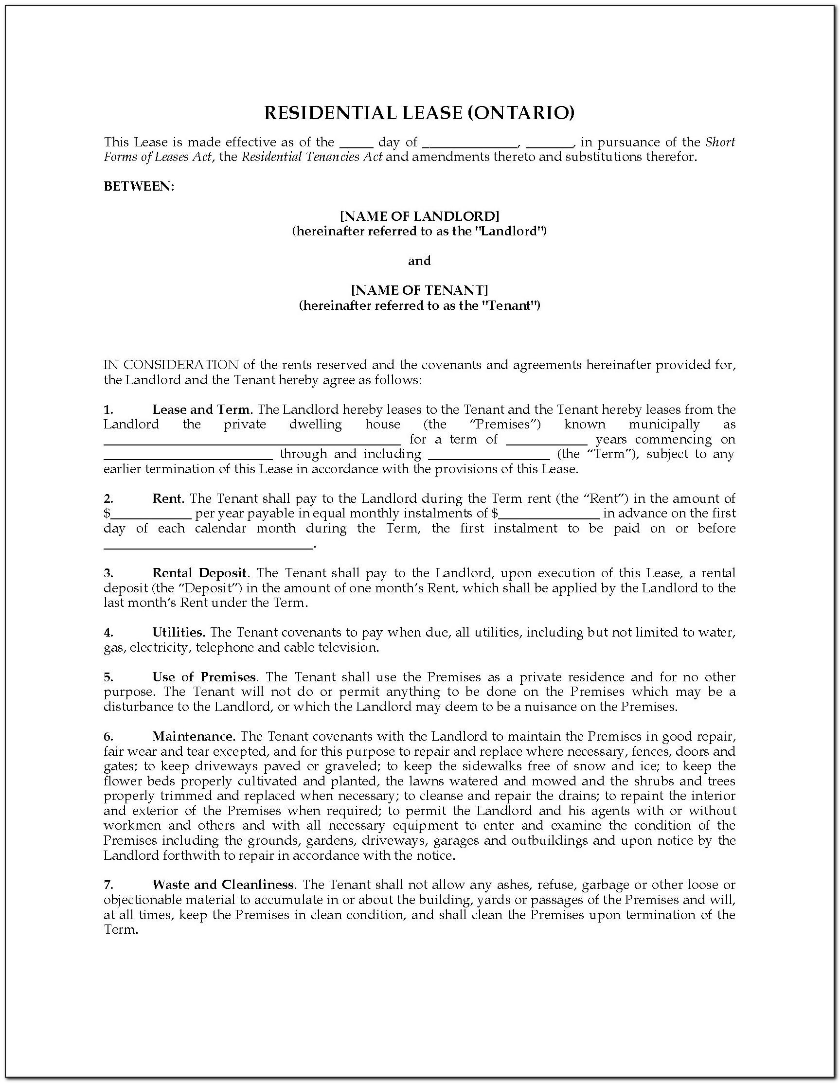 Free Landlord Tenant Agreement Form Ontario