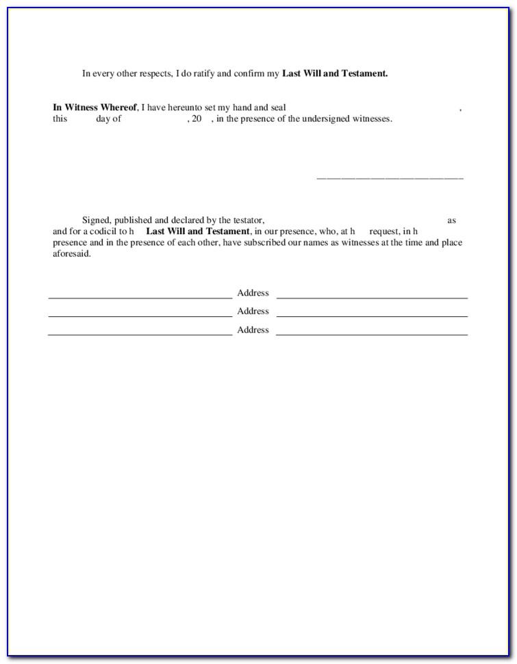 Free Legal Codicil Form