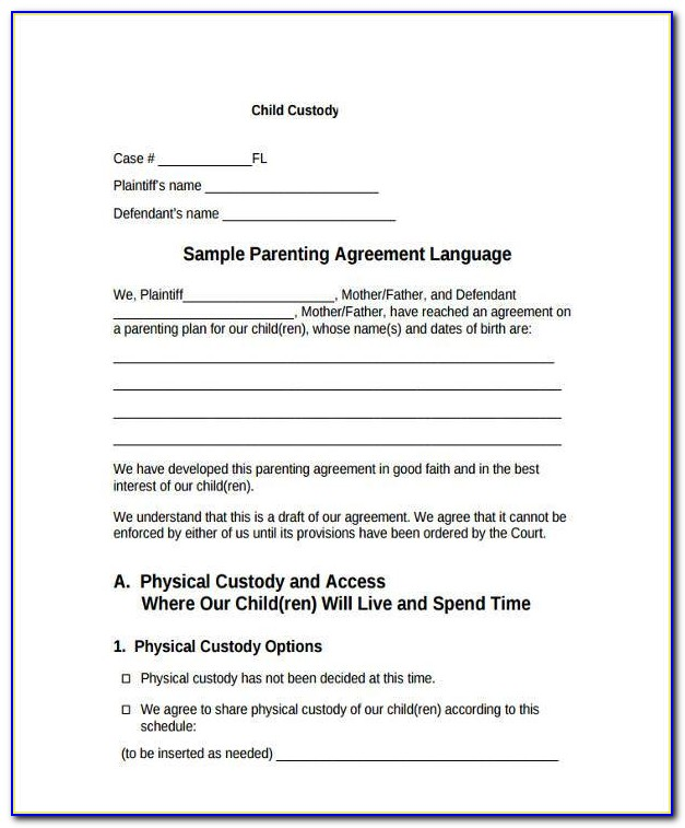 Free Legal Forms Child Custody Agreement