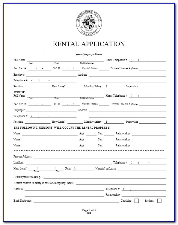 Free Maryland Rental Application Form
