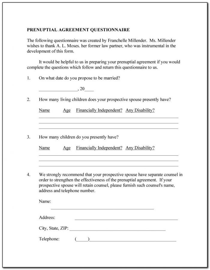 Free Online Prenup Forms