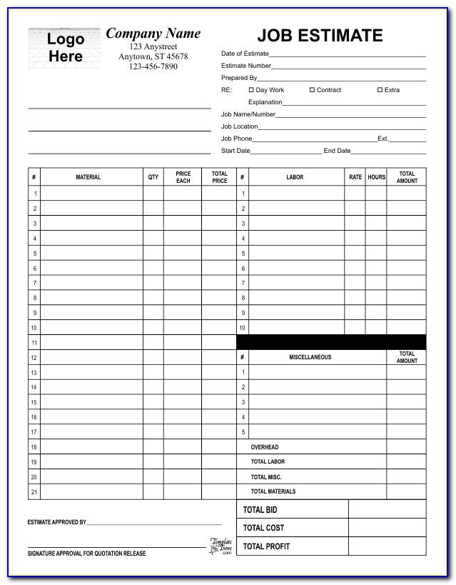 Free Painting Job Estimate Form