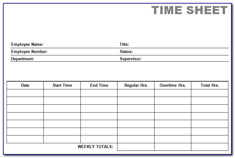 Free Printable Biweekly Time Sheets Forms