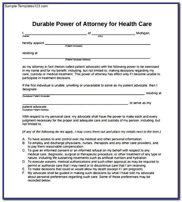 Printable Durable Power Of Attorney Form Pdf – Project Management For Printable Durable Power Of Attorney Form