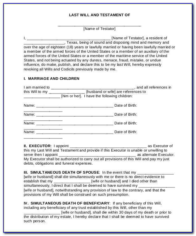 Free Printable Last Will And Testament Forms For Texas
