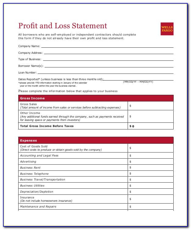 Free Printable Profit And Loss Form