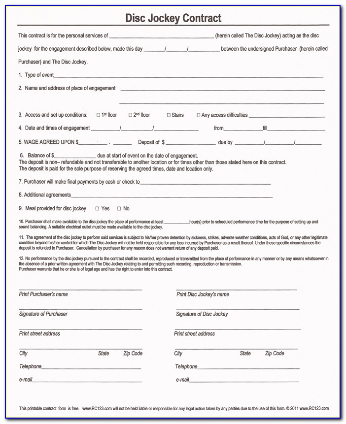 Free Printable Service Contract Template