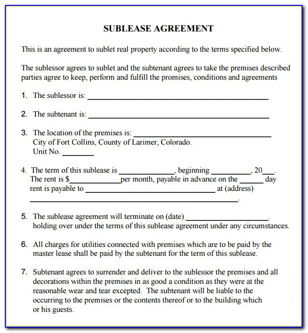 Free Printable Sublease Agreement Forms
