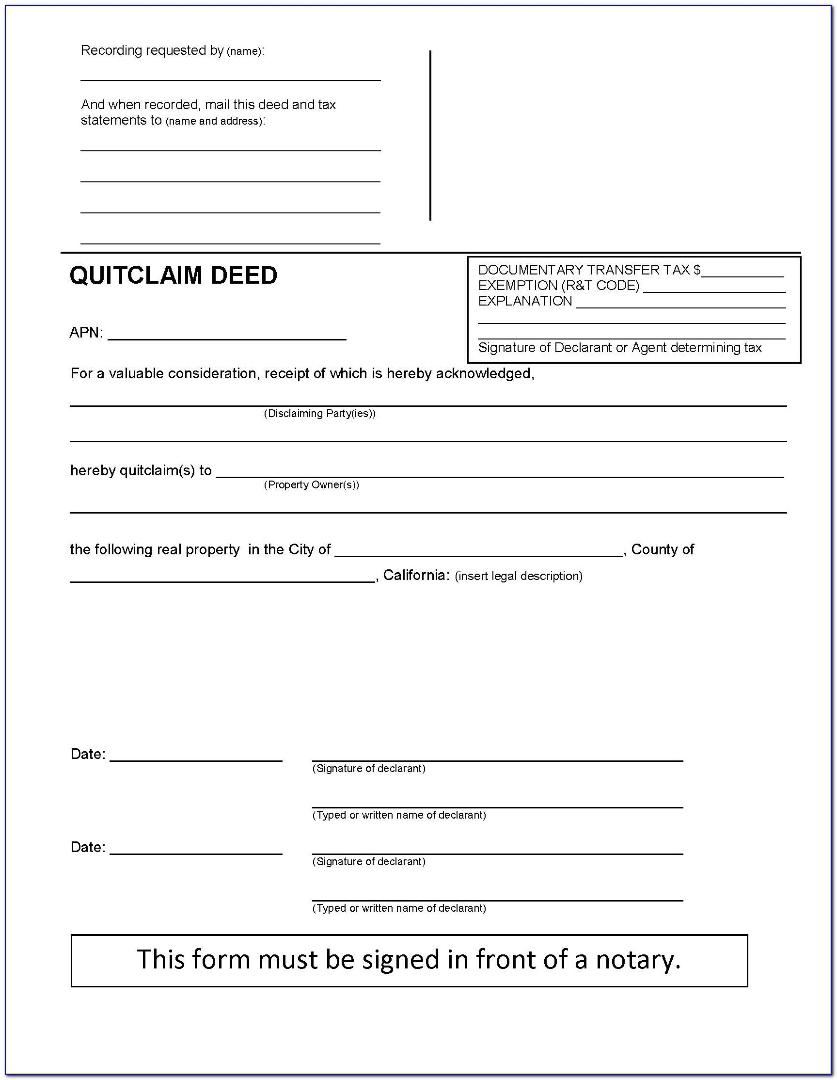 Free Quit Claim Deed Form California Pdf