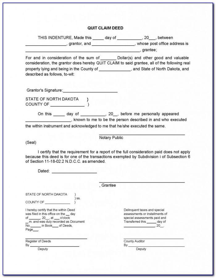 Free Quit Claim Deed Form North Dakota