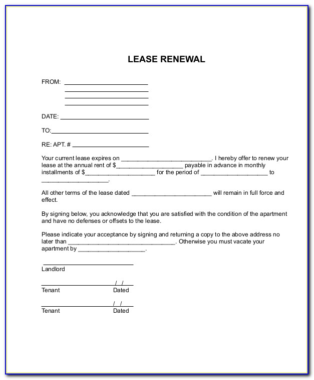 Free Renewal Lease Agreement Forms