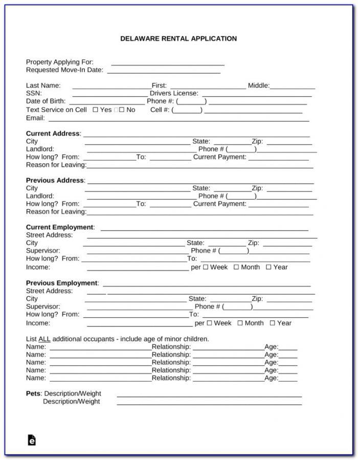 Free Rental Application Form Word Doc