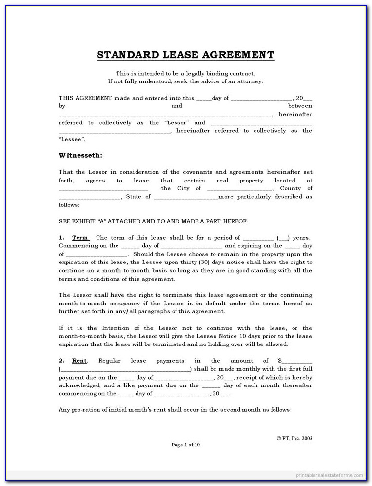 Free Rental Lease Agreement Forms California
