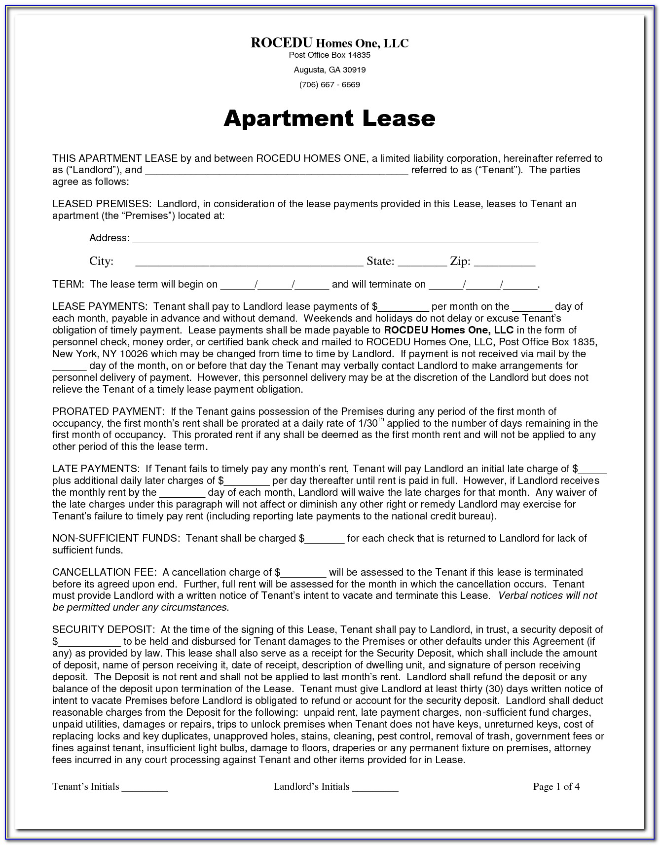 Free Residential Lease Agreement Form Nj