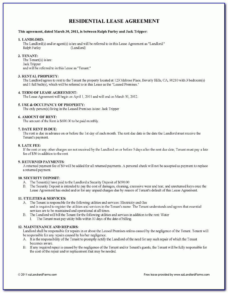 Free Residential Lease Agreement Form Texas