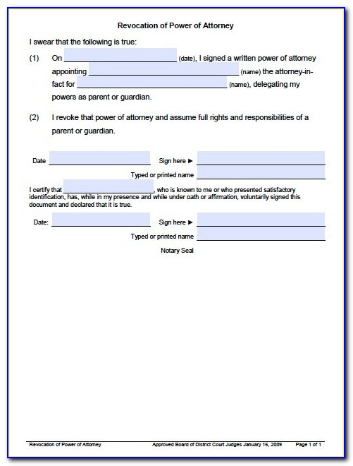 Free Revocation Of Power Of Attorney Template