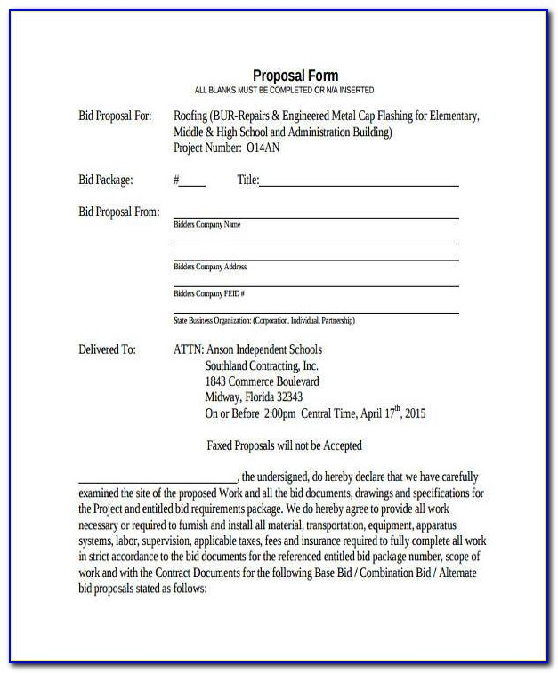 Free Roofing Bid Proposal Forms