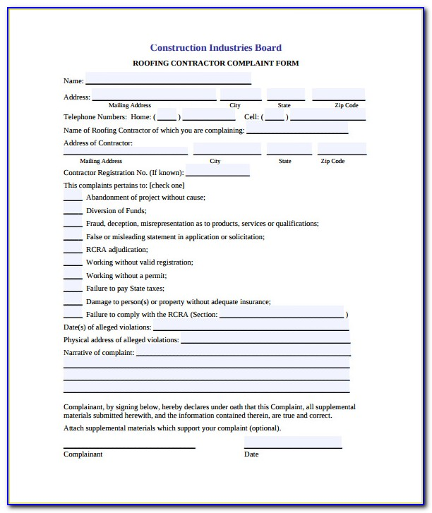 Free Roofing Contract Forms
