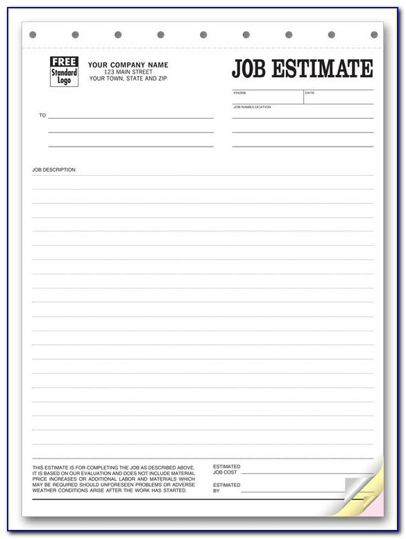 Free Sample Estimate Forms For Contractors