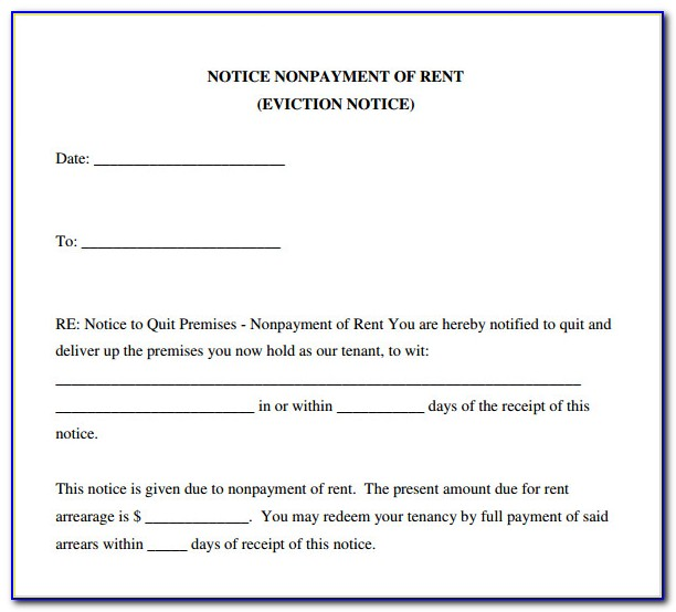 Free Sample Of Eviction Notice Form