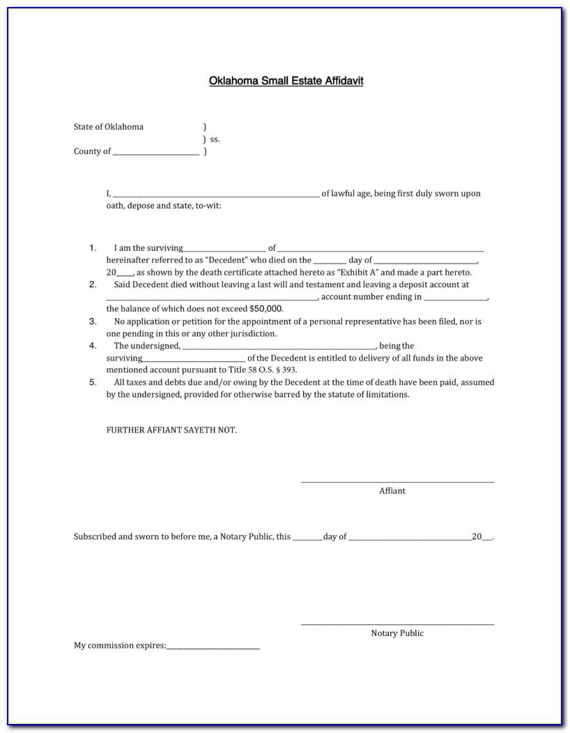 Free Small Estate Affidavit Form Alabama