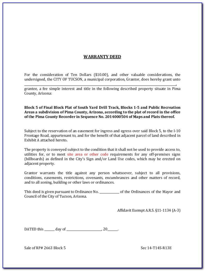 Free Warranty Deed Form Arizona