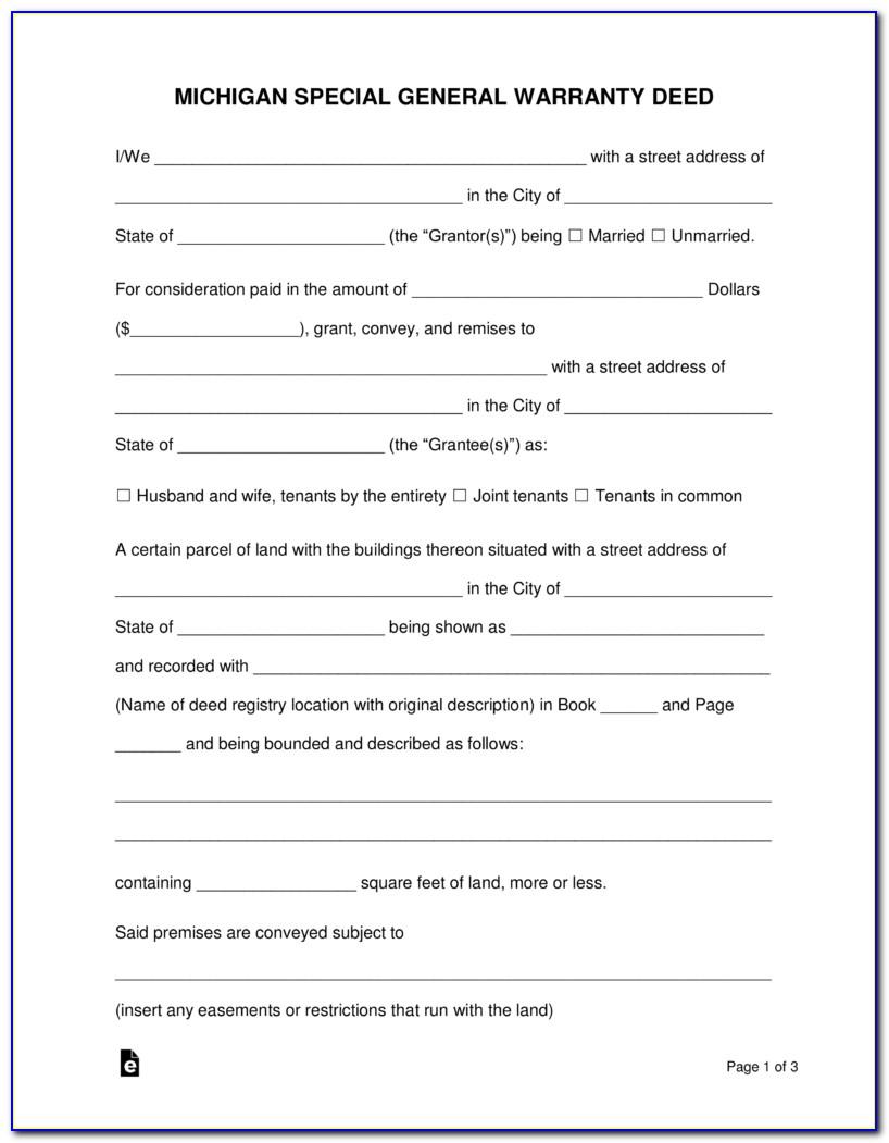 Free Warranty Deed Form Michigan