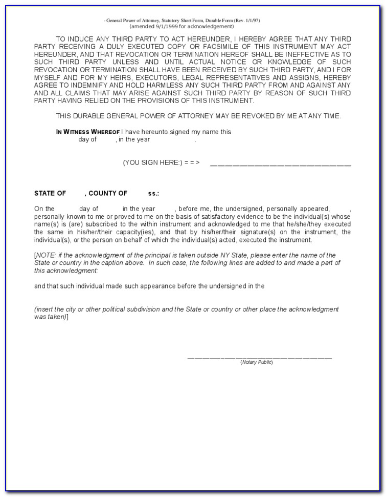 General Power Of Attorney Template New York