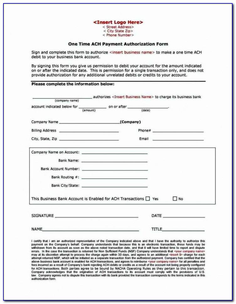 Generic Ach Enrollment Form
