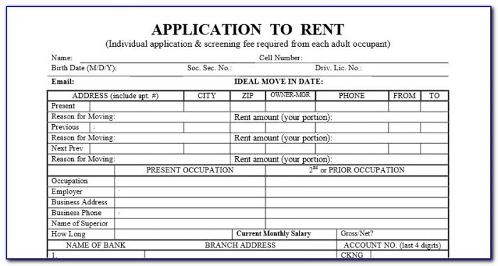 Generic Apartment Rental Application Form