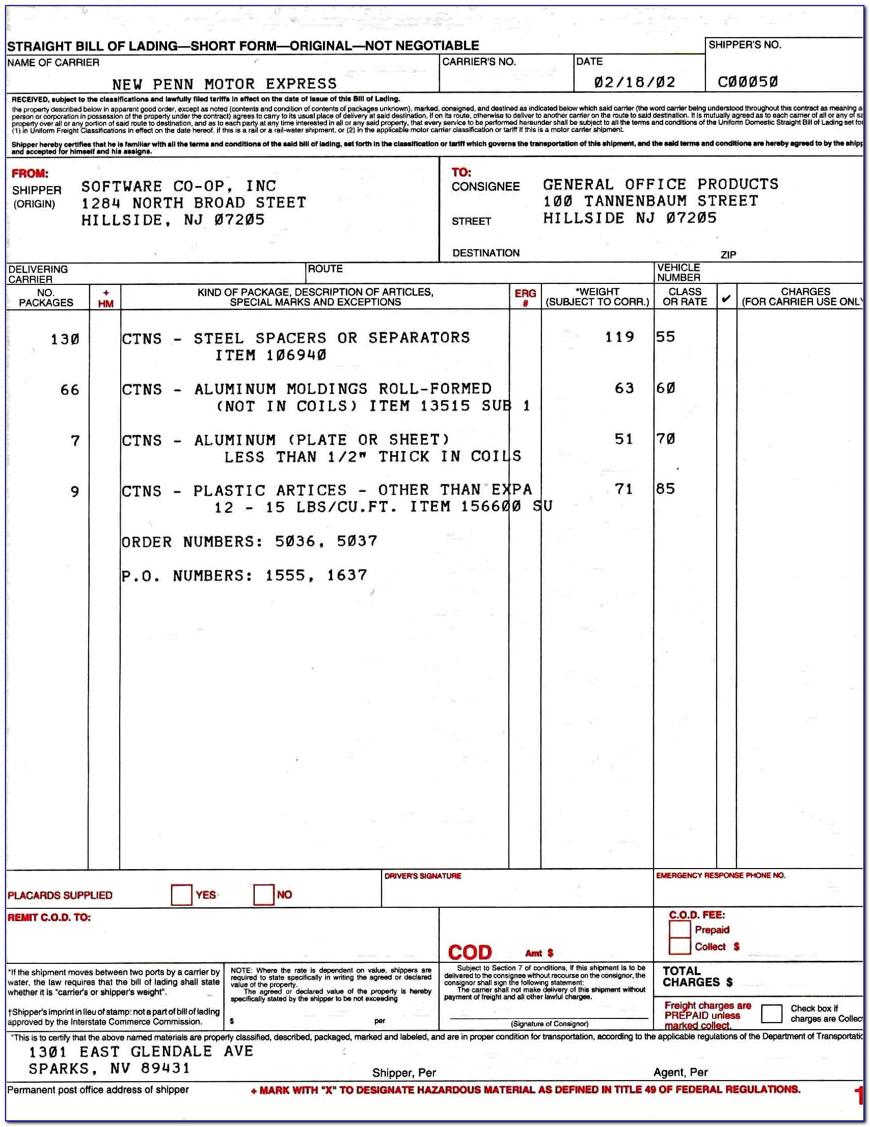 Hazardous Materials Bill Of Lading Form