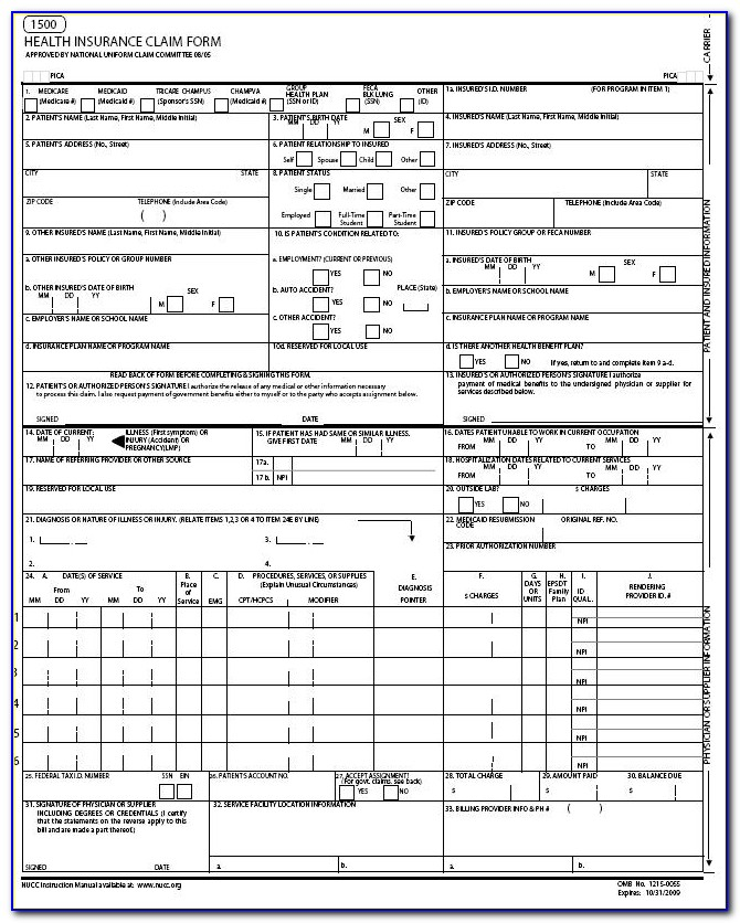 Free Claim Form. Cms 1500 (08/05) Pdf Smartform 1500 Claim Form In Cms 1500 Form Printable