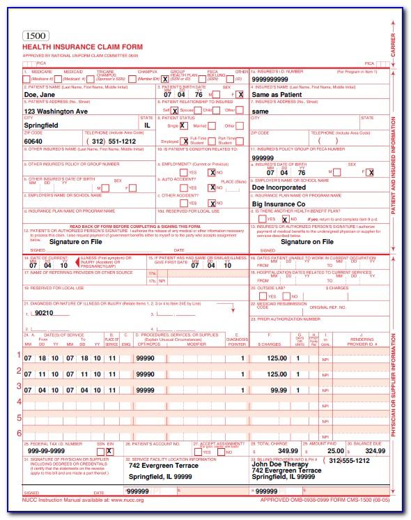 Health Insurance Claim Form 1500 Example