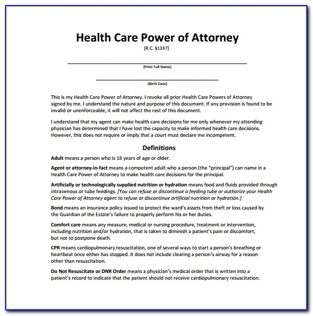 Healthcare Poa Form Nc