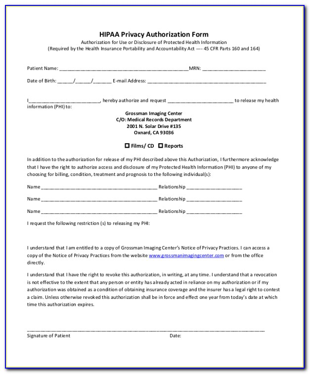 Hipaa Compliant Authorization Form For Use Or Disclosure Of Protected Health Information