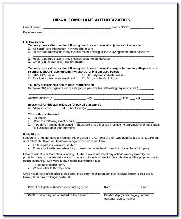 Hipaa Compliant Authorization Form Nj
