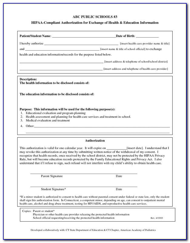 Hipaa Compliant Authorization Form Ny