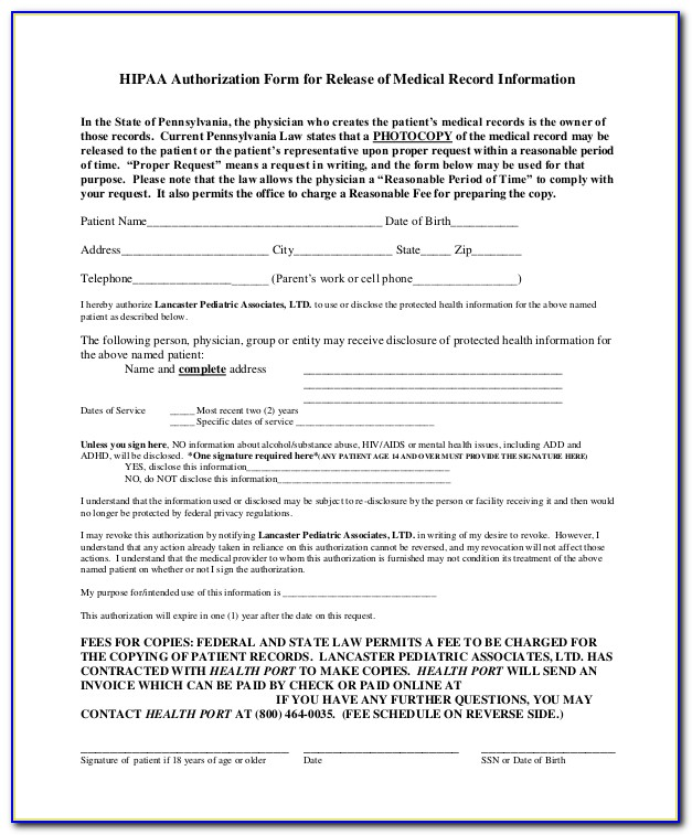 Hipaa Compliant Medical Records Request Form