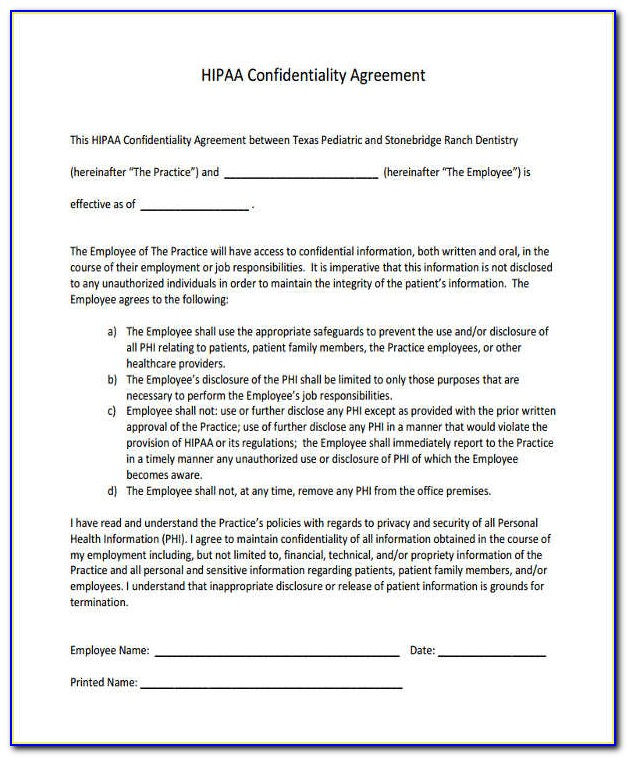 Hipaa Forms For Employees To Sign