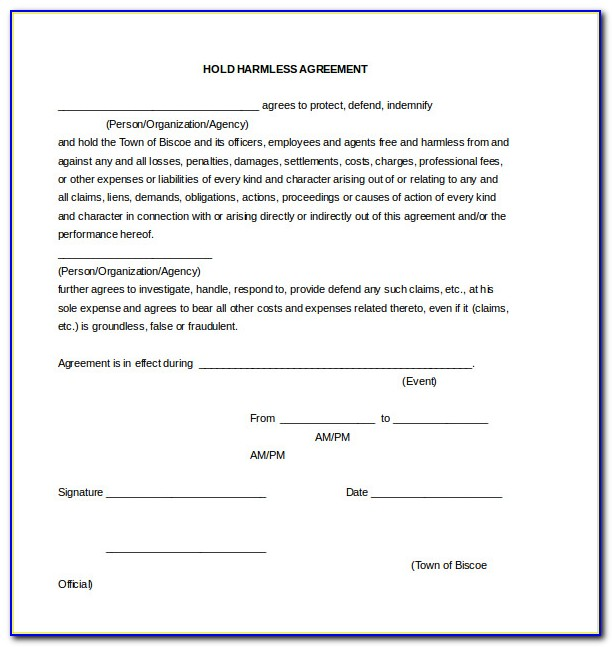 Hold Harmless Form Template