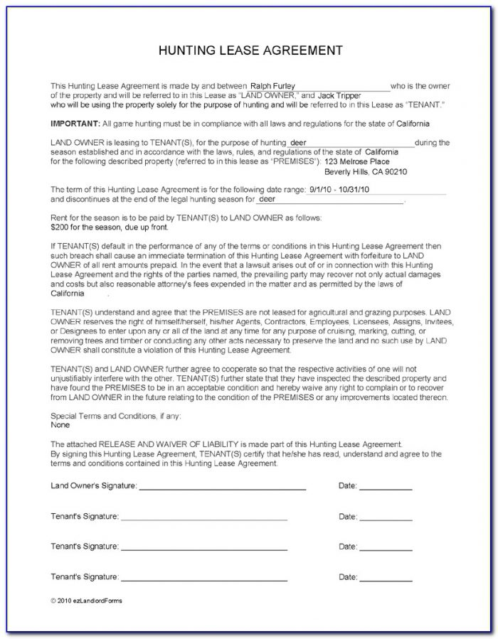 Hunting Lease Forms Oklahoma
