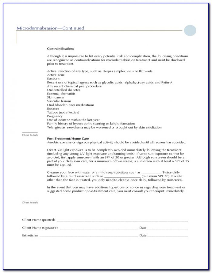 Image Chemical Peel Consent Form