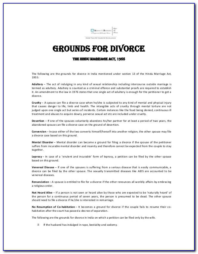 Indian Divorce Petition Format