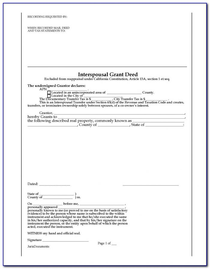 Interspousal Transfer Deed Form Florida